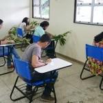 Sala de aula fazendo a identificação Botânica
