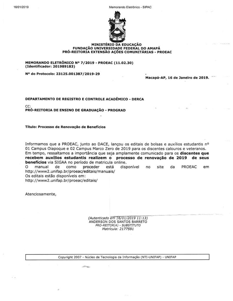 MEMORANDO ELETRÔNICO N 07 - 2019 - PROEAC-1