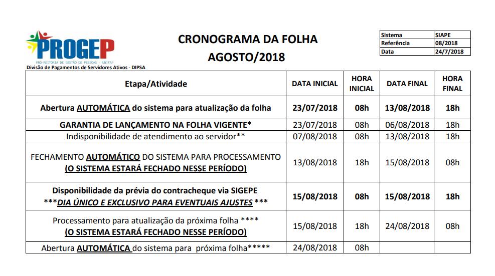 CRONOGRAMA DA FOLHA DE PAGAMENTO - AGOSTO DE 2018