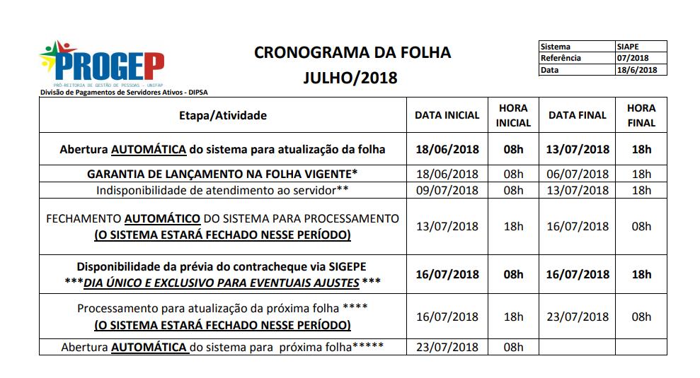 CRONOGRAMA DA FOLHA DE PAGAMENTO - JULHO DE 2018