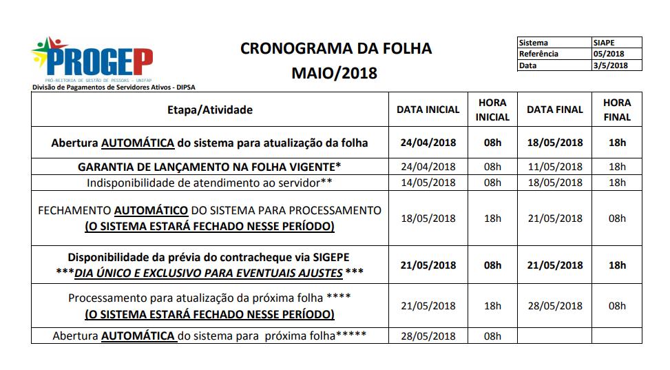 CRONOGRAMA DA FOLHA DE PAGAMENTO - MAIO DE 2018