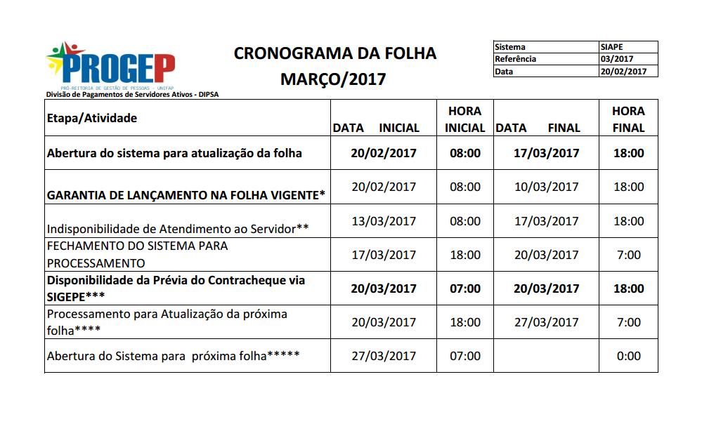 CRONOGRAMA DA FOLHA DE PAGAMENTO - MARÇO DE 2017