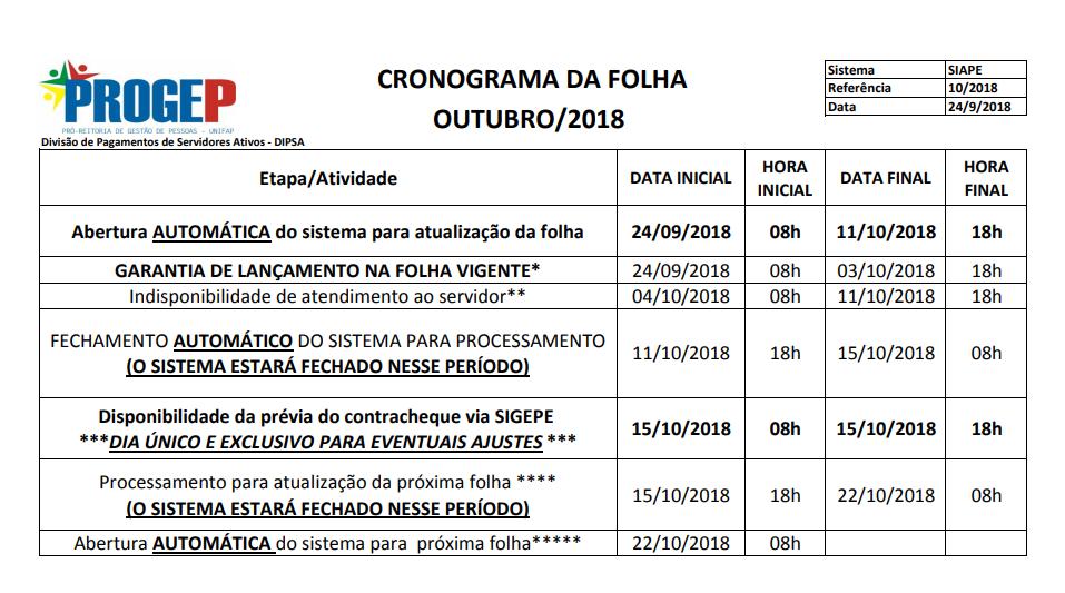 CRONOGRAMA DA FOLHA DE PAGAMENTO - OUTUBRO DE 2018
