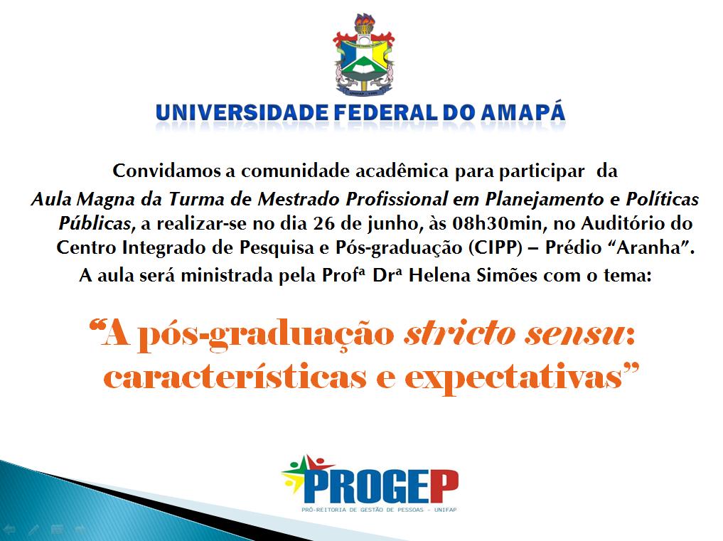 AULA MAGNA - MESTRADO PROFISSIONAL - PROGEP