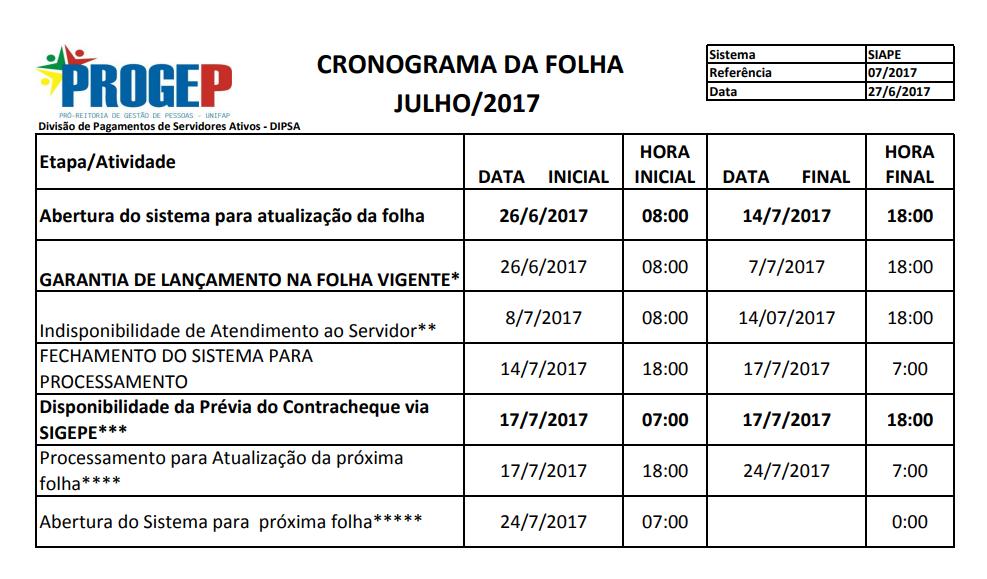 CRONOGRAMA DA FOLHA DE PAGAMENTO - JULHO DE 2017