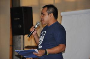 Makaratu Waiãpi, acadêmico do CLII, participando do Seminário