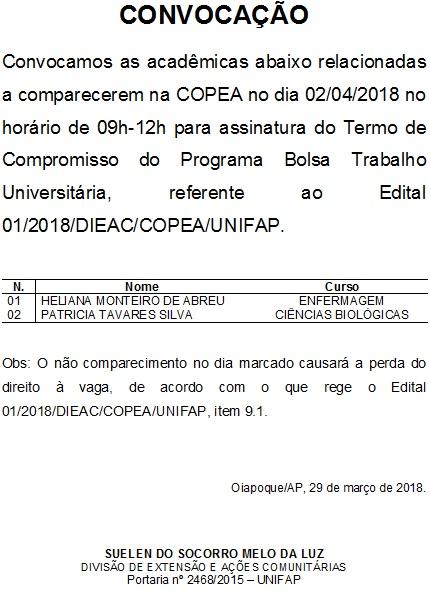 CONVOCAÇÃO_BOLSA TRABALHO EDITAL 01_2018