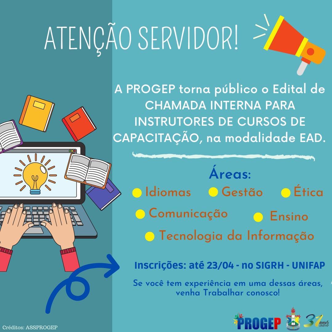 CHAMADA INTERNA PARA INSTRUTORES DE CURSOS DE CAPACITAÇÃO
