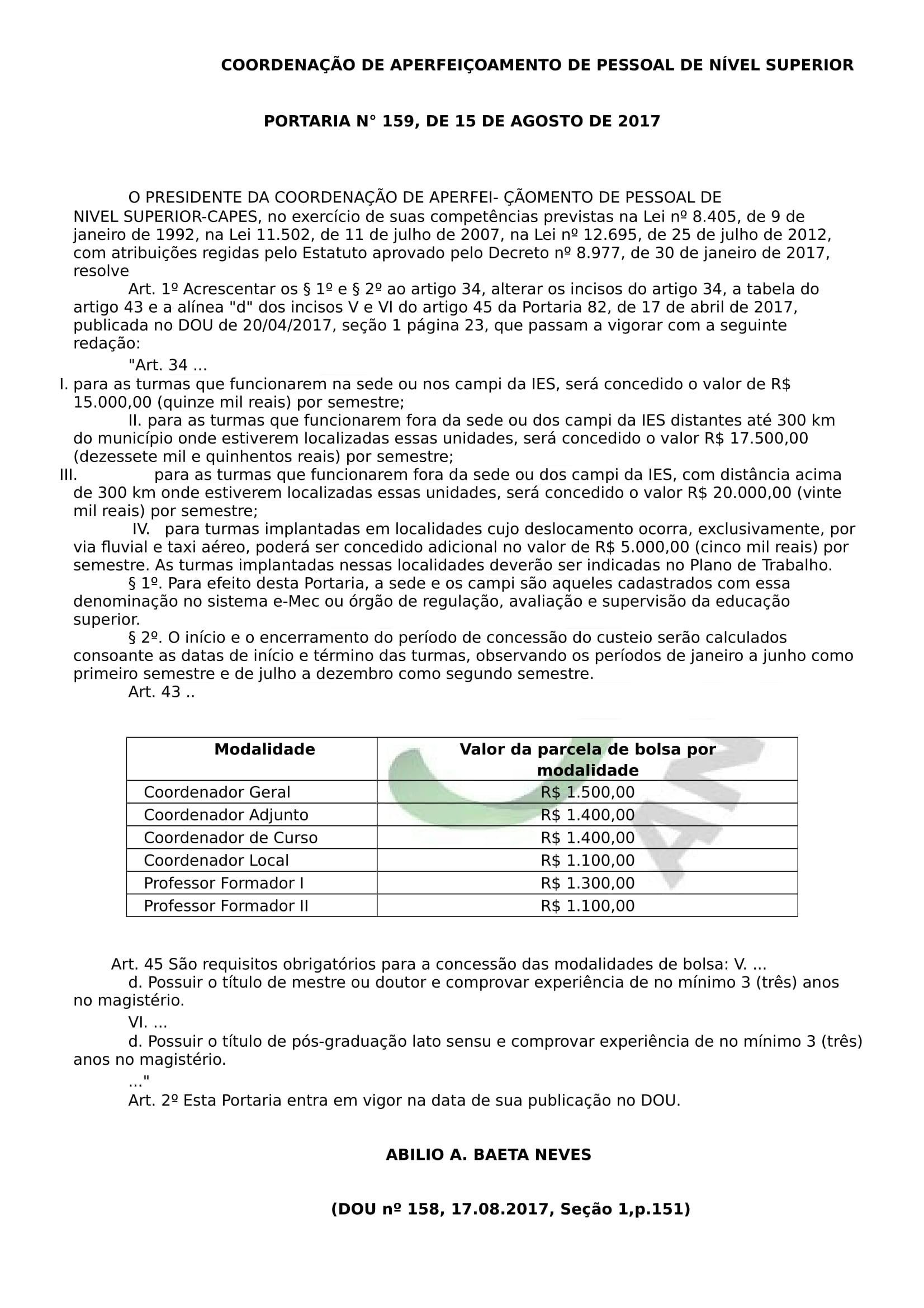 Portaria, n°159, de 15 de Agosto de 2017 - CAPES