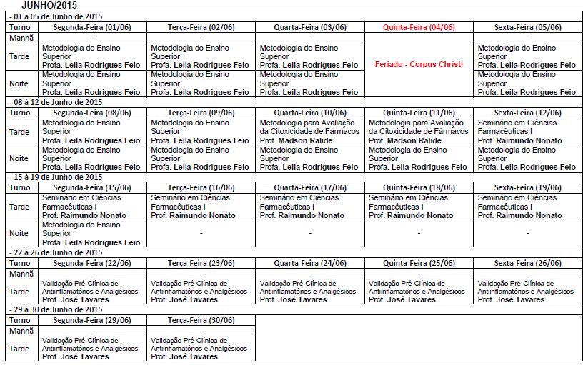Cronograma de aulas 2015 1 ci ncias farmac uticas for Cronograma jardin infantil 2015