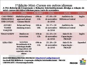 MINI-CURSOS EM OUTROS IDIOMAS - NOVEMBRO